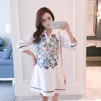 OkayMom Maternity Blouse Shirt Clothes Pregnancy Wear Tops Tees Clothing White Embroidery Clothes For Pregnant Women 2018
