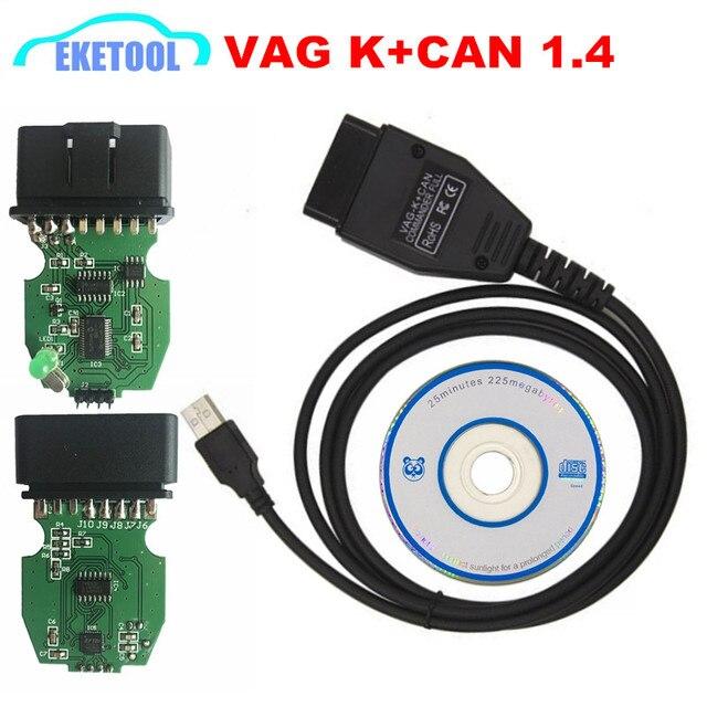 VAG K+CAN Commander Full K Line VAG K+CAN 1 4 For AUDI/VW/Skoda/SEAT  PIC18F25K80 FT232RQ VAG 1 4 OBD2 Code Reader CAN BUS Tool em Cabos De