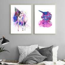Unicorn Watercolor Splatter Painted Canvas Prints Modern Painting Posters Wall Art Pictures For Living Room Decoration No Frame