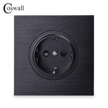 Coswall роскошная черная алюминиевая панель 16A стандарт ЕС настенная розетка с заземлением с защитным замком от детей
