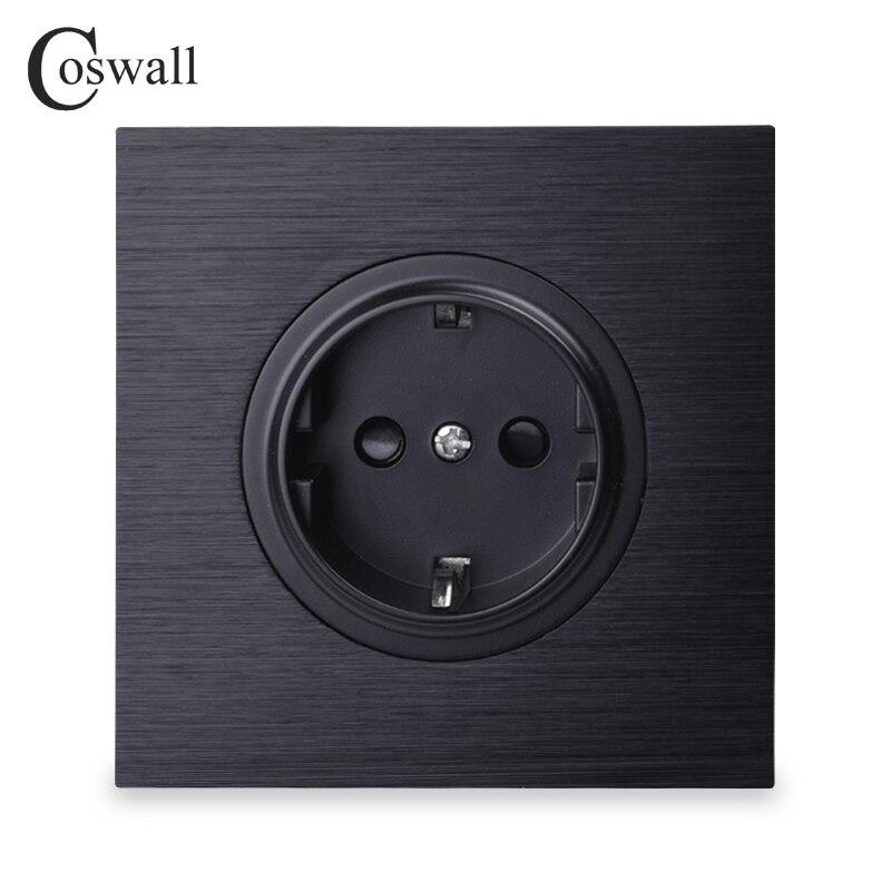 Coswall lujoso Panel de aluminio negro 16A EU toma de corriente de pared estándar con bloqueo de protección para niños
