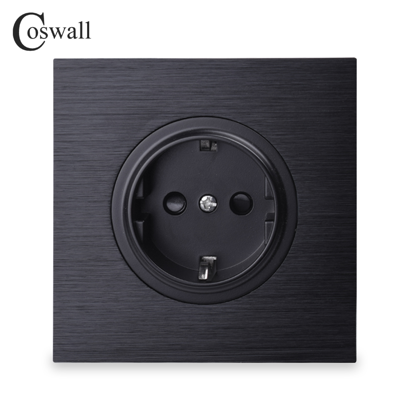 Coswall Luxurious Black Aluminum Panel 16A EU Standard Wall Power Socket Outlet Grounded With Child Protective Lock