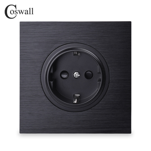 Coswall Luxurious Black Aluminum Panel 16A EU Standard Wall Power Socket Outlet Grounded With Child Protective Lock()