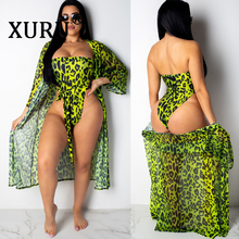 XURU 2019 summer sexy one-piece swimsuit two pieces tube top printed leopard bikini