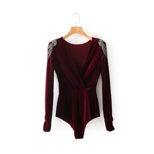 2019 Autumn V neck Sexy Velvet Bodysuit Women Beading Shoulder Long Sleeve Rompers Elegant Skinny Bodysuit