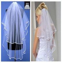 Белый/слоновая расческой кость фата складе слоя два край свадебное лента платье