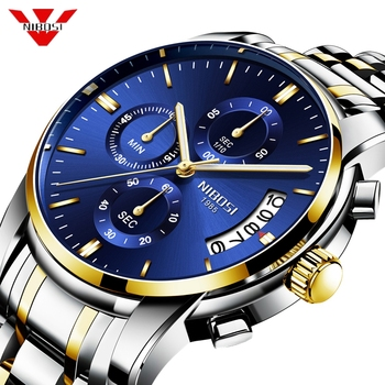 NIBOSI Mens Watches Top Brand Luxury Men's Sports Military Watch Men Stainless Steel Waterproof Quartz Watch Relogio Masculino