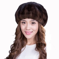 black color coffee color Mink fur hat mink beret warm cap winter for women and lady luxury hat free shipping