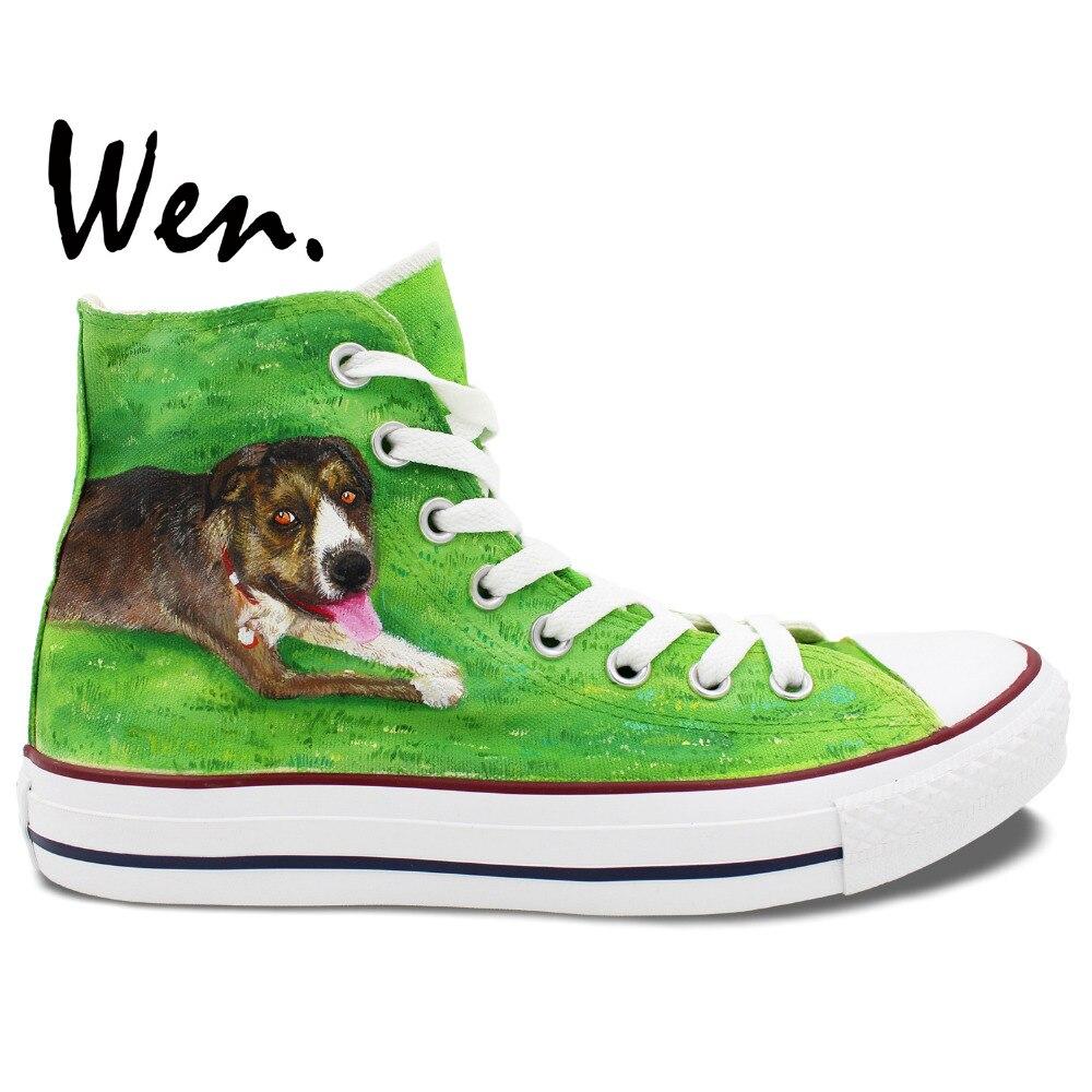 Prix pour Wen Vert Peint À La Main Chaussures Design Personnalisé Pet Chien Couché Sur Herbe Hommes Femmes High Top Toile Sneakers