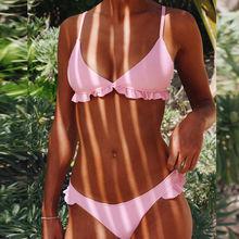 Free Shipping Women Bikini Set Triangle Ruffle Push Up Paded