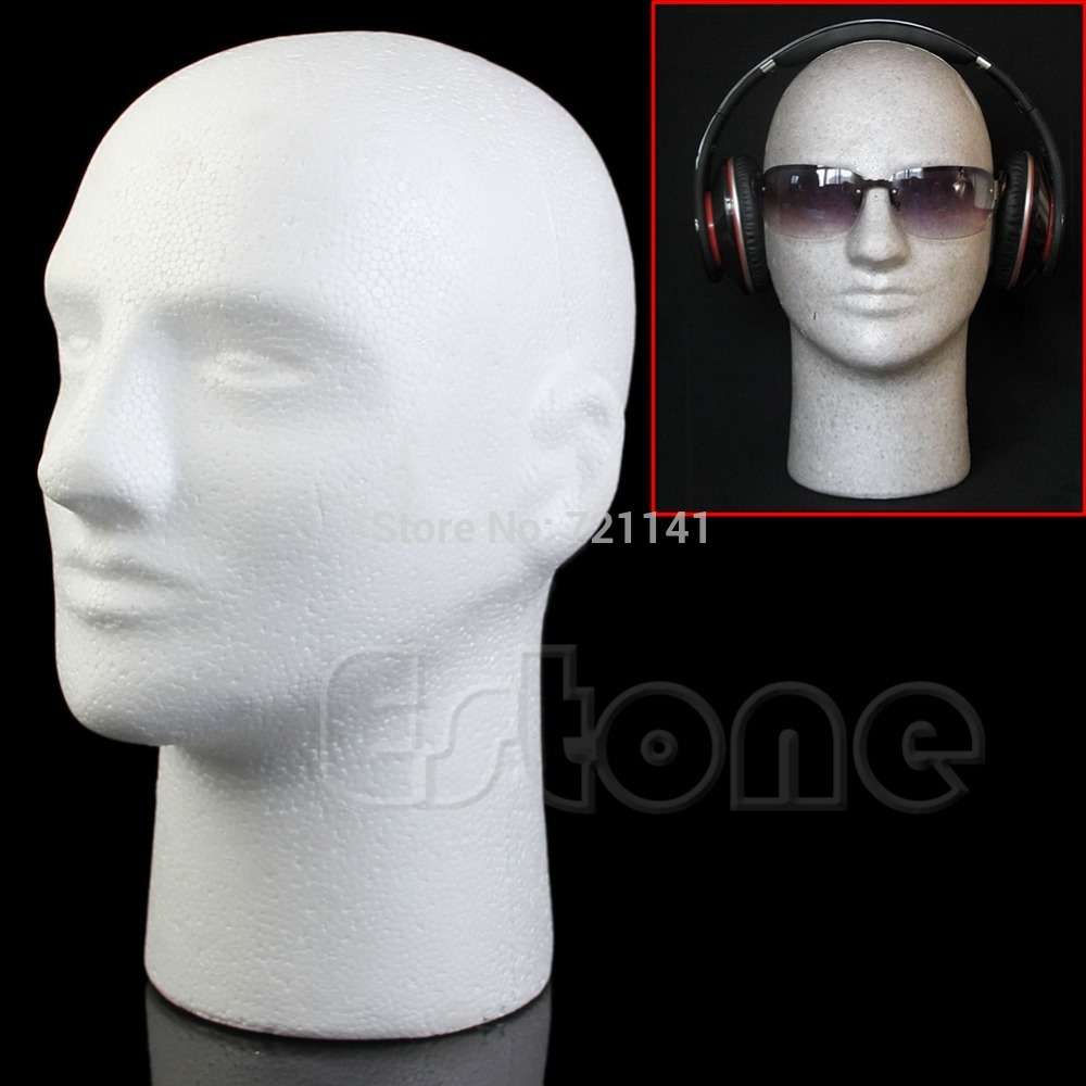 Manikin Styrofoam Mannequin Male Head Foam Model Wig Hat Glasses Display Stand HT0803 mannequin
