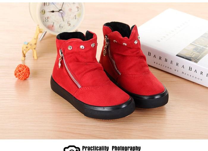 c9526d65c ... Brand 2015 Autumn Children Shoes Flock Leather Flat Rubber Sole Kids  Boots Abkle Short Plush Fashion ...