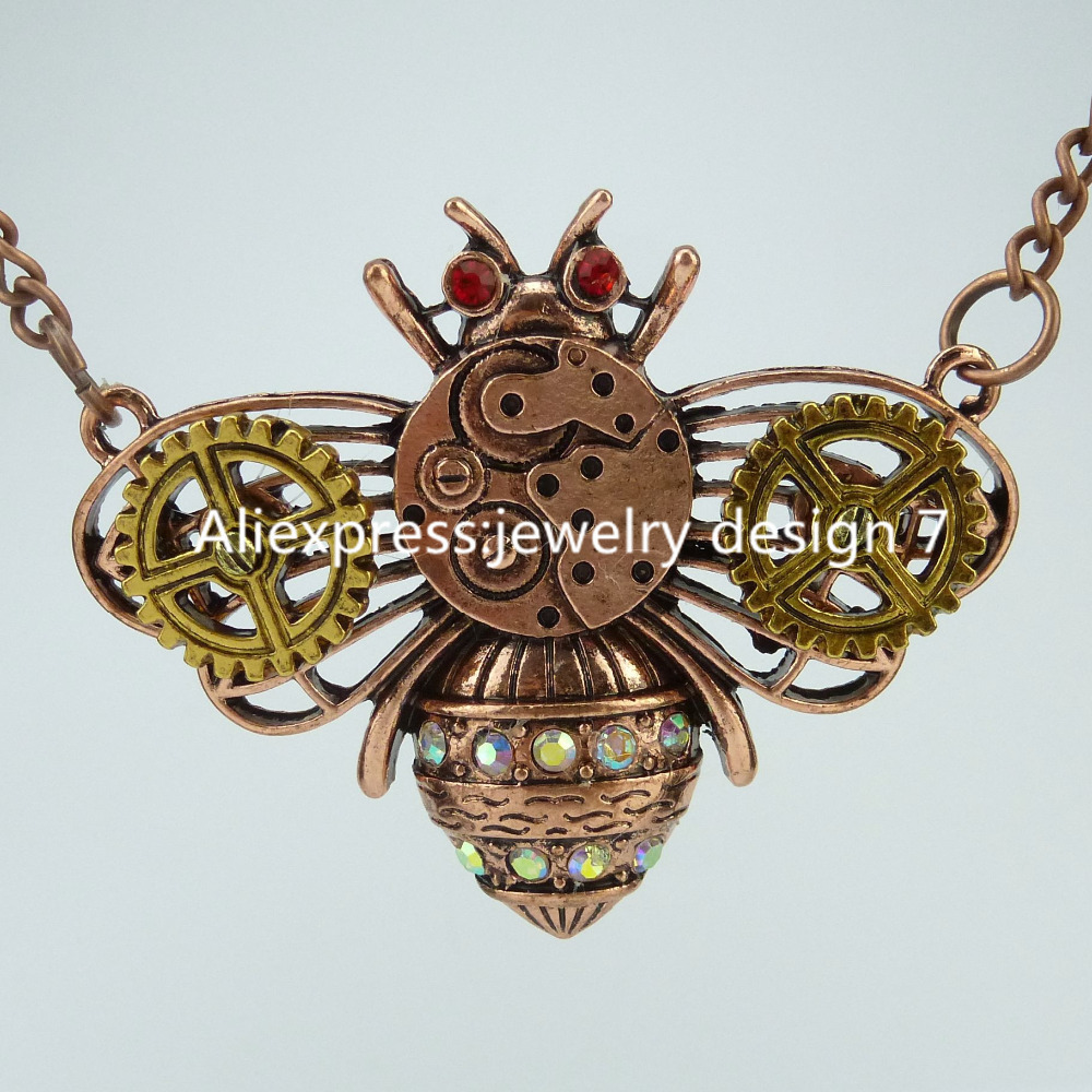 Free shipping Alloy Insect Bee Beetle Steampunk Steam Punk Gear Pendant Bumble Bee Necklace