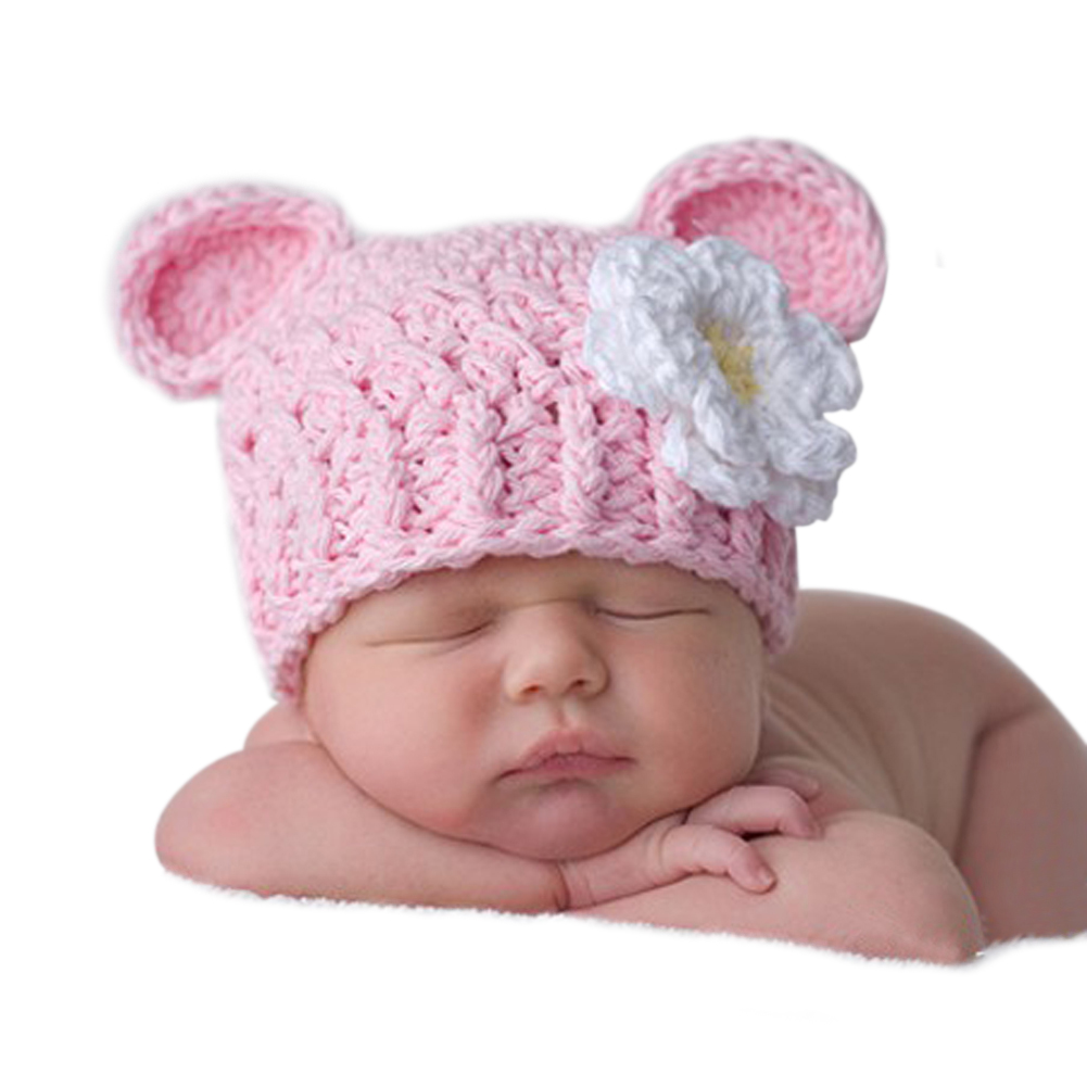 Baby Hat Photo Props Newborn Infants Lovely Cotton Crochet Knitted Hat Cap Beanie Photography Prop 0 to 4 Months