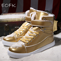 Women Gold Boots Leather Shoes 2016 Fashion High Top Boots Woman Lace up Female Ladies Paint Snow Boots Plus Size 35-46