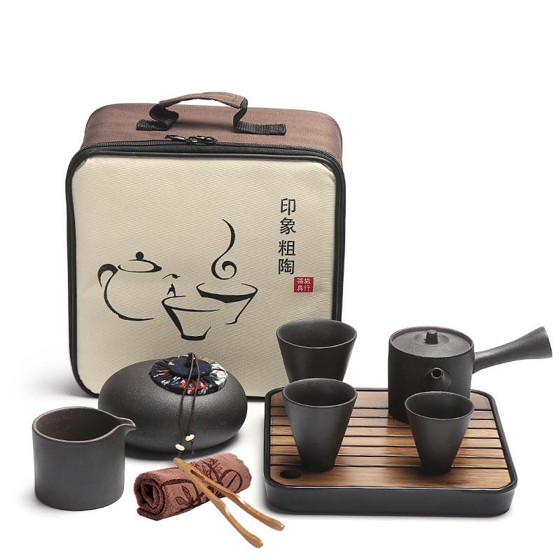 Portable Kungfu Thé Ensemble de Voyage En Plein Air Bureau Simple Utiliser Chinois Tasses à Thé En Porcelaine Thé Plateaux Chinois Thé Ensembles Cadeaux Boîte