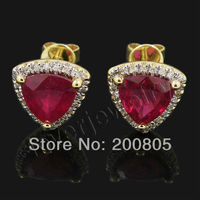 Vintage Trillion 7mm 14Kt Yellow Gold Diamond Blood Red Ruby Earrings E0081