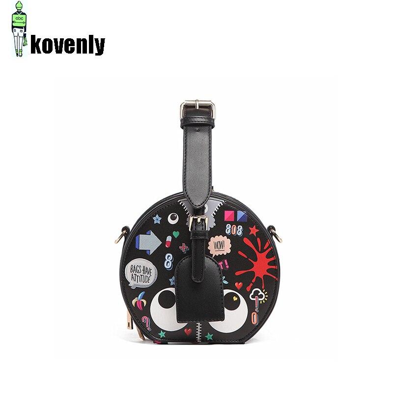 Women Bag Pu Leather Shoulder Bag Luxury Circular Handbag Printed Crossbody Messenger Bags Small Round Pack Zipper Pocket A314 все цены