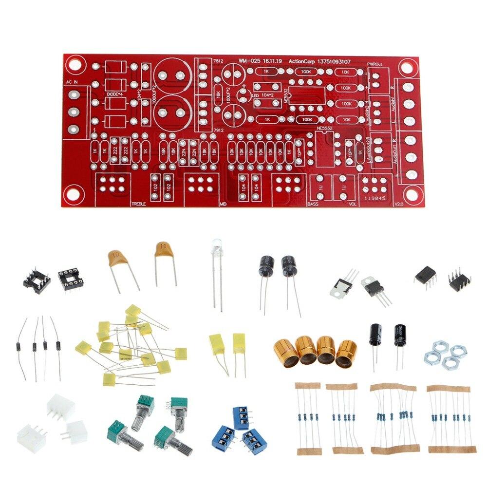 NE5532 AC 12 V OP-AMP HIFI Amplificateur Préamplificateur Volume Tone EQ contrôle Conseil DIY KIT Module Ensemble 10 Fois Ton Conseil préampli