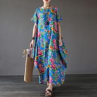 Women Summer Dress 2017 New Fashion Casual Cotton Printing Retro Robe Short Sleeve Plus Size Women Dress