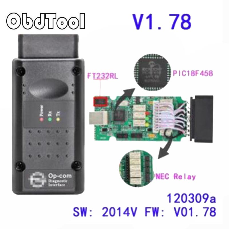 Opcom V145 1.78 2014V With PIC18F458 FTDI FT232RL Chip OBD OBD2 Diagnostic Tool For Opel Op Com Can Bus Diagnostic Cable