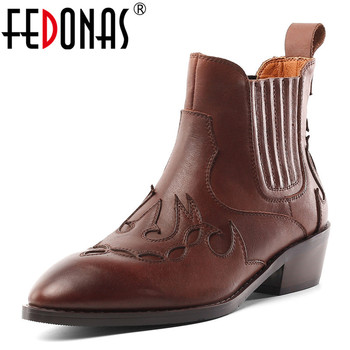 FEDONAS Genuine Leather Women Ankle Boots Autumn Winter Slip-on Short Riding Boots High Heeled Pointed Toe Casual Shoes Woman
