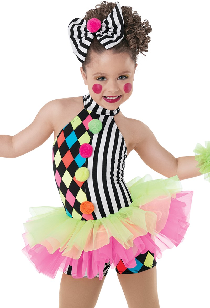 Girls Stage Performance Clown Dance Costumes for Kids Tulle Ballet Tutu Children Harlequin Circus-inspired Attached Two-tone