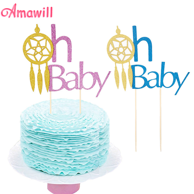 Amawill Glitter Oh Baby Cake Toppers Dream Catcher Cupcake Flag For Extraordinary Dream Catcher Baby Shower Cake