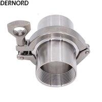 DERNORD 1 Set 1.25'' DN32 Stainless Steel SS304 Sanitary Female Threaded Ferrule OD 64mm+Tri Clamp+Gasket