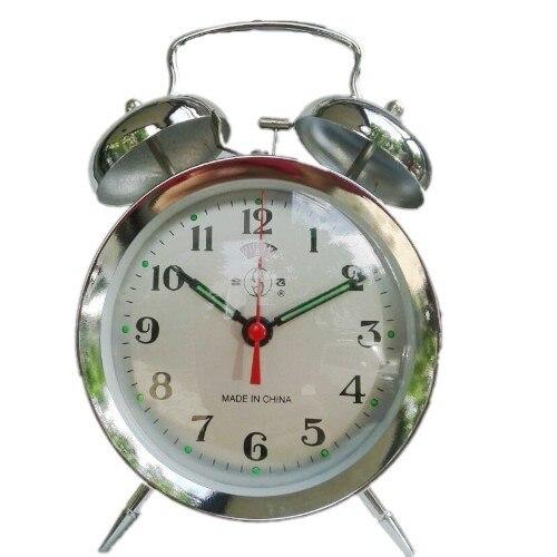 Vintage old fashioned manual clockwork ultralarge mechanical alarm clock metal horseshoe alarm clock