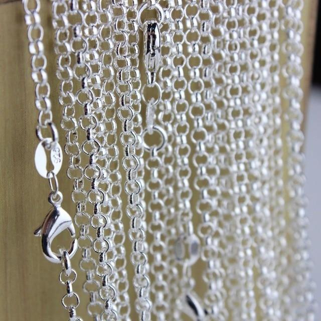 bbe47bac8296 Venta al por mayor 10 unids lote cadenas de Collar de plata de moda ...