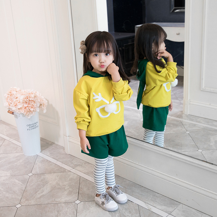 2018 autumn new girls Sets printing rabbit ears cartoon cute sweet hooded suits Kids Clothing toddler newborn girls dress rabbit ears cartoon print heart letter warm hooded dress outfit clothing new year s costume