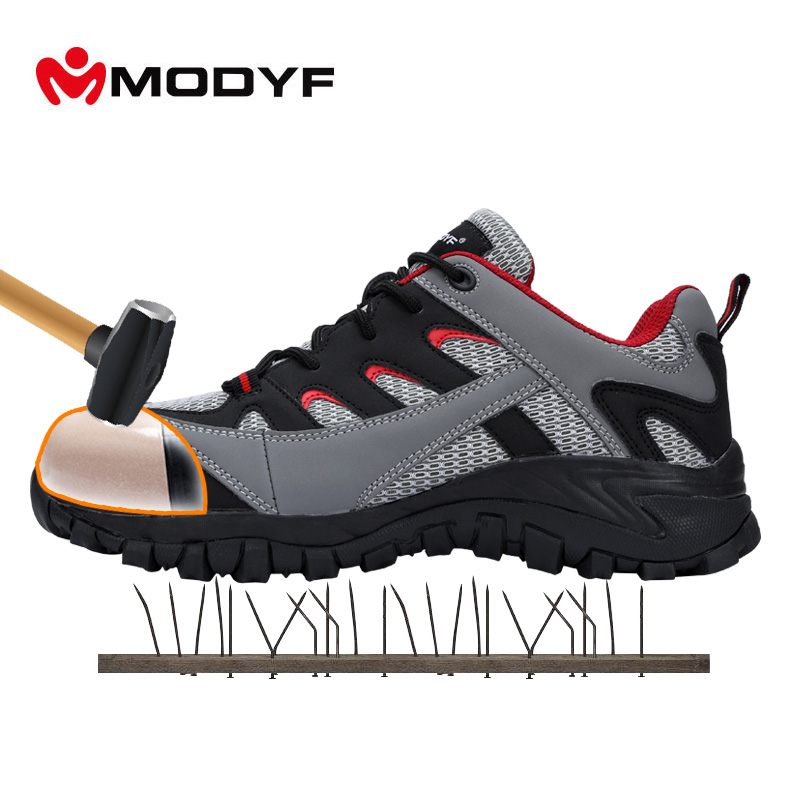 MODYF Men's Outdoor Safety Working Boots Steel Toe Cap Anti-smashing Footwear Breathable Lining Mesh Protective Sneaker