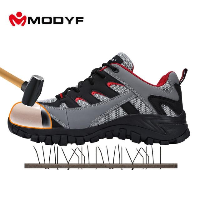MODYF メンズ屋外安全作業ブーツ鋼つま先キャップ抗スマッシング靴通気性ライニングメッシュ保護スニーカー