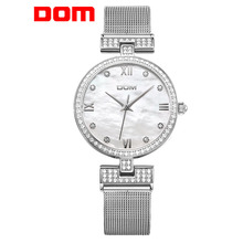 DOM Women's Fashion Mesh steel belt Watches Womens Females Antique Geneva Quartz-watch Ladies Brands Wristwatch Relojes Mujer