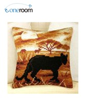 Oneroom CX0206 Leopard Acrylic Yarn Embroidery Pillow Tapestry Cushion Front Cross Stitch Pillowcase DIY Needlework