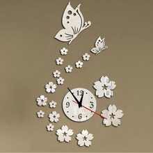 2017 Home Art Modern DIY Butterfly Flower Wall Clock Sticker 3D Mirror Surface Art Stickers Decal Bedroom Home Decor