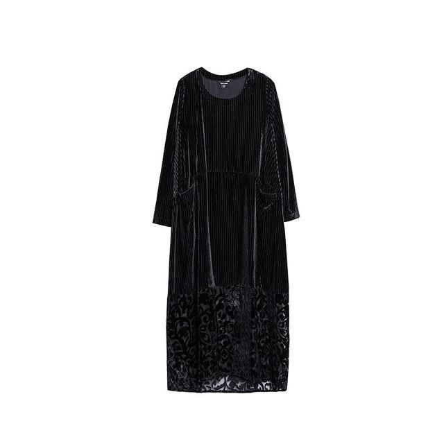 High Quality Female Autumn Winter Dress Robe Vintage Lace Velvet Dress Women Long Sleeve Casual Loose Dresses Femme Vestido 5