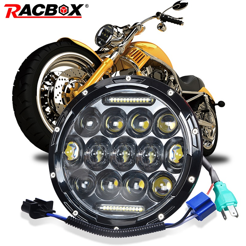RACBOX 7 inch 80W Led Headlight H13 H4 High Low Beam Round Cars Running Lights for Lada Harley Jeep urban Niva 4x4 Motorcycle