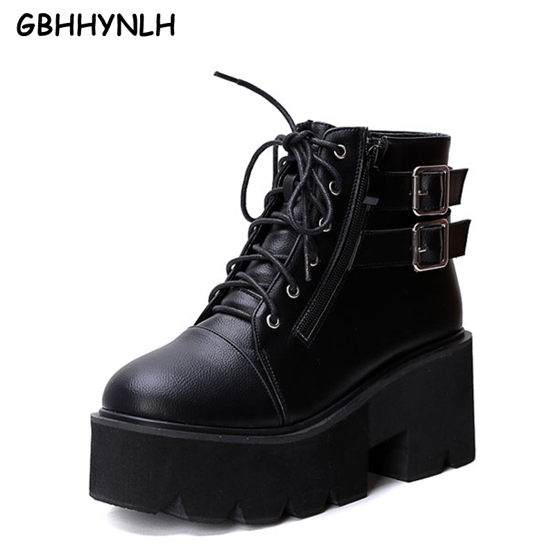 women winter shoes high heels platform boots Ankle Strap heels chunky heel lace up boots pumps women winter boots heels LJB160 apoepo brand shoes punk style rivet ankle boots for women lace up high heels shoes women boots sexy platform shoes with heels