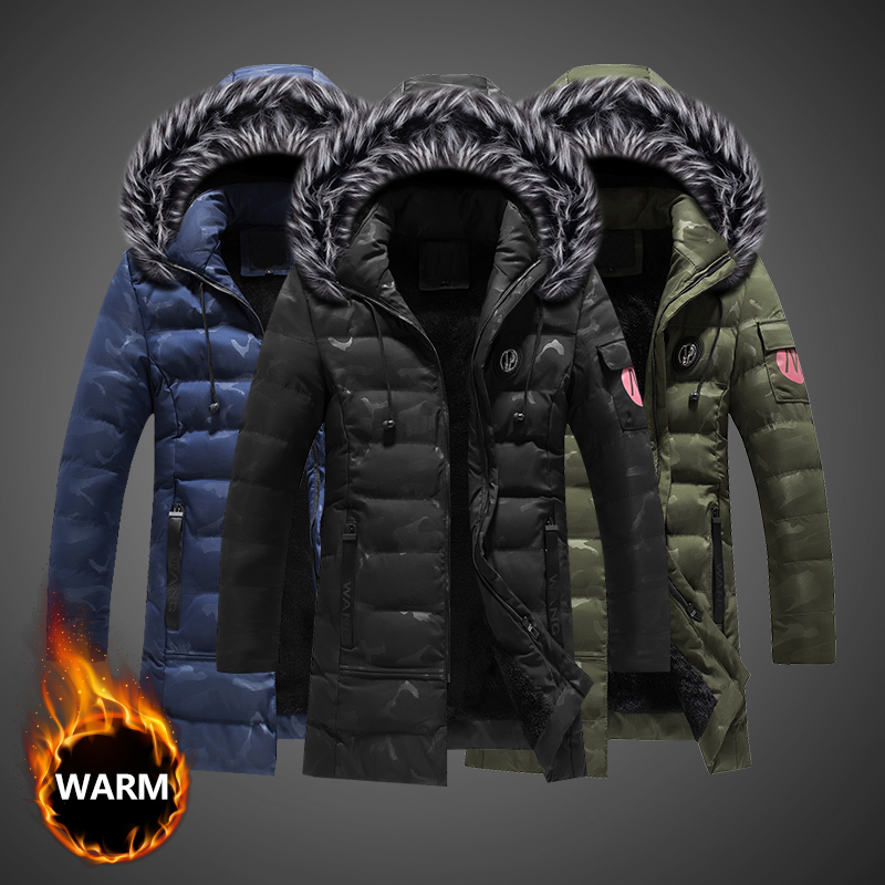 Fashion Winter Jackets Men Thick Velvet Hooded Coats Fur Collar Long Trench Men Parka Camouflage Military Warm Down Jackets