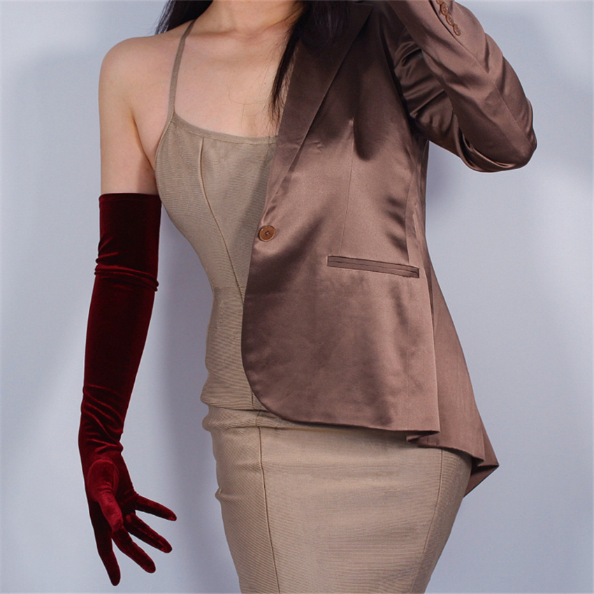 Women'S Velvet Gloves 60cm Long Wine Red Over Elbow Female High Elastic Velvet Gold Velvet Touch Screen Gloves JHSR60