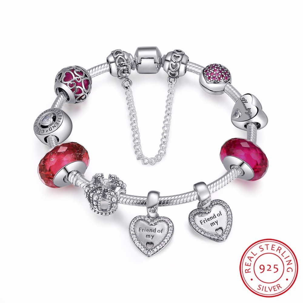 925 Sterling Silver Friendship Forever Heart Pink CZ Safety Chain Women Charm Bracelet Sterling Silver Jewelry PSB014 925 sterling silver cz by the yard anklet bracelet 10