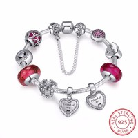 925 Sterling Silver Friendship Forever Heart Pink CZ Safety Chain Women Charm Bracelet Sterling Silver Jewelry PSB014