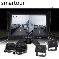 Smartour 2CH Car Rear View Reversing Camera 7 inch Double Screen Monitor Fit For Truck/Semi Trailer/Truck DVR Driving recorder