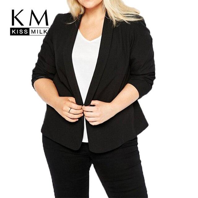 4be3e84a8c Kissmilk Plus Size Mulheres 2018 Novos Ternos Básicos Jaquetas Workwear  Escritório Senhora Entalhado Collar Manga Comprida