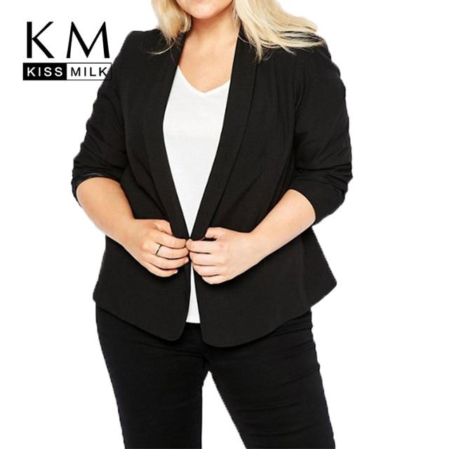 9325addb31aa6 Kissmilk Plus Size Women 2018 New Basic Suits Workwear Jackets Office Lady  Notched Collar Long Sleeve Blazer Female Coat
