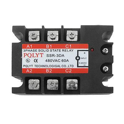 DC to AC 3-phase Solid State Relay SSR-3DA 60A 3-32VDC / 480VAC high quality ac ac 80 250v 24 380v 60a 4 screw terminal 1 phase solid state relay w heatsink