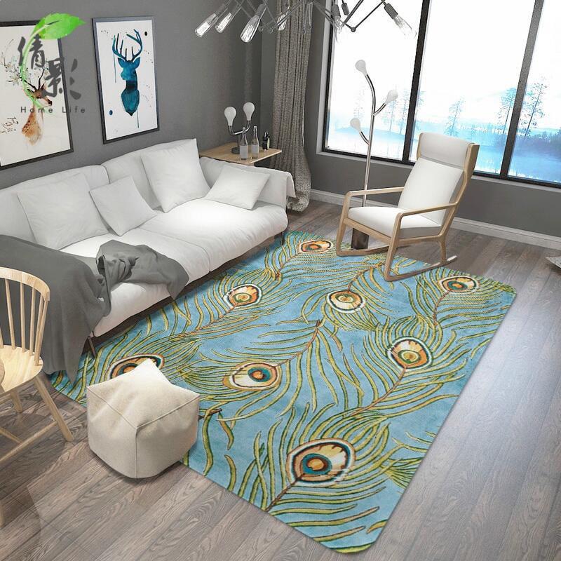Paon plume motif décoratif tapis salon chambre rectangulaire antidérapant tapis sale hôtel magnifiques tampons épais tapis 8mm