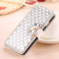 Luxe Bling Crystal Rhinestone Diamond Flip Lederen Case voor iPhone X 4 4 S 5 5G 5 S SE 5C 6 6 S 7 8 Plus Kaarthouder Portemonnee tas